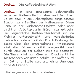 Dock11 - Die Kaffeeladestation